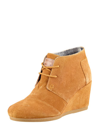 Suede Lace-Up Wedge Boot