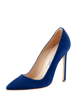 Manolo Blahnik BB Suede Pointed-Toe Pump