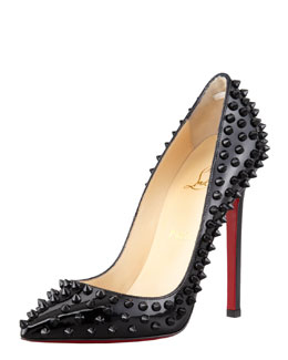Christian Louboutin Pigalle Spiked Patent Red Sole Pump