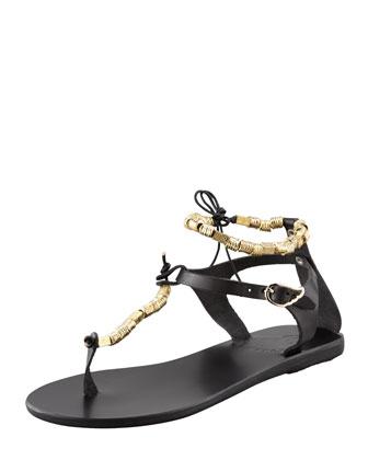 Chrysso Beaded Thong Sandal, Black