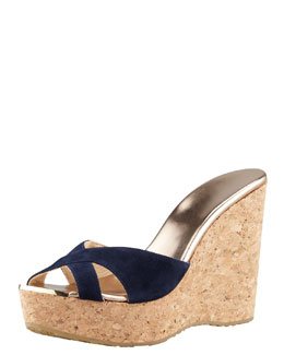 Jimmy Choo Perfume Cork Wedge Slide, Navy