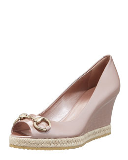 Gucci Metallic Patent Peep-Toe Wedge