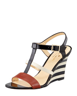 kate spade new york irina patent striped wedge sandal