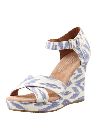 Printed Hemp Strappy Wedge Sandal, Ikat