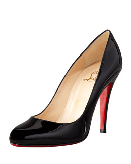 Christian Louboutin Decolette Patent Red Sole Pump, Black