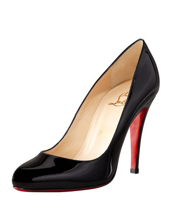Decolette Patent Red Sole Pump, Black