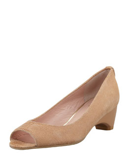 Stuart Weitzman Lizette Demi-Wedge Peep-Toe Pump, Nude