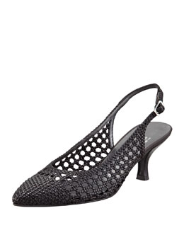 Stuart Weitzman Meeting Woven Leather Kitten-Heel Slingback, Black