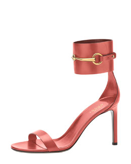 Gucci Horsebit Patent Ankle-Wrap Sandal, Rose Drage