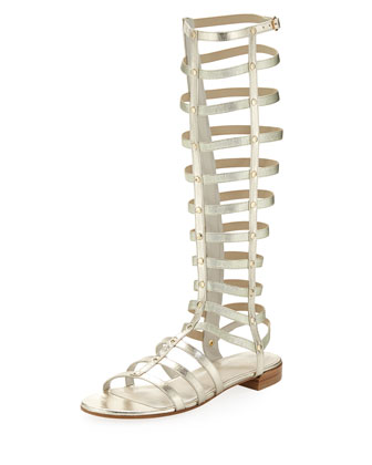 Gladiator Metallic Stretch Sandal, Cava (Made to Order)