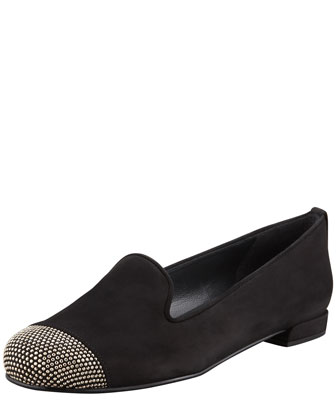 Lingo Stud Detail Smoking Slipper, Black