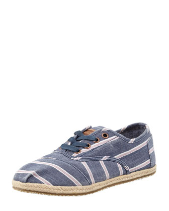 Cordones Striped Canvas Oxfords, Navy