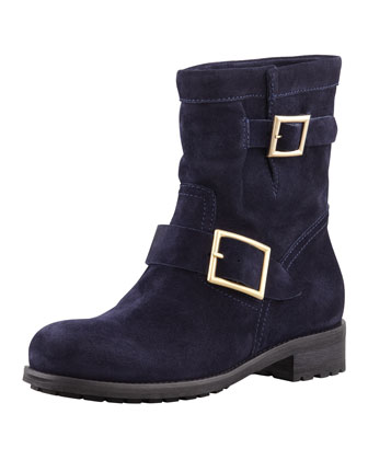 Youth Suede Flat Biker Boot, Navy