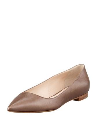 Pointed-Toe Saffiano Leather Flat
