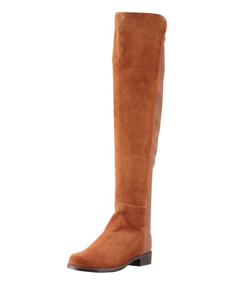 5050 Suede Stretch-Back Knee Boot, Cuero