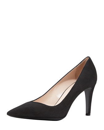 Suede Asymmetric Pointy-Toe Pump, Nero