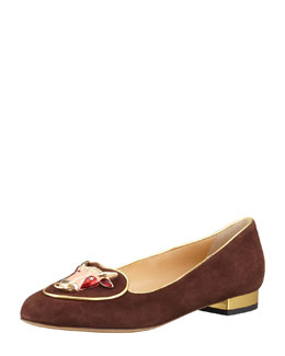 Charlotte Olympia Birthday Taurus Zodiac Smoking Slipper, Brown
