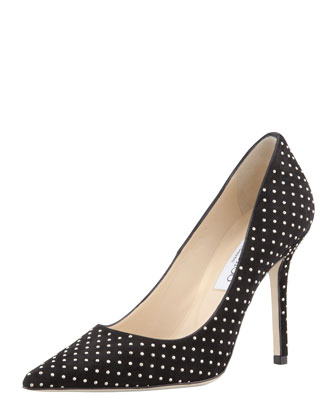 Abel Studded Point-Toe Pump, Black