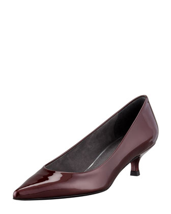 Poco Patent Leather Kitten-Heel Pump, Tinto