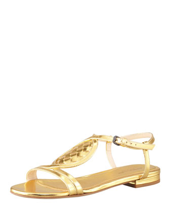 Metallic Woven Leather Flat Sandal, Gold