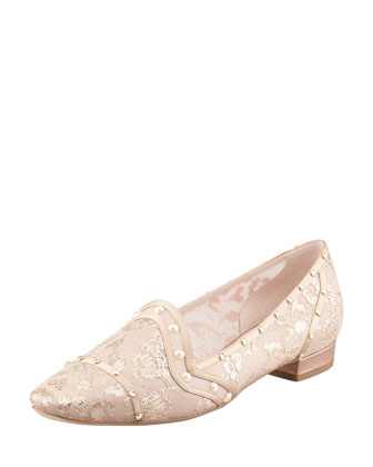 Crystal-Embellished Lace Loafer, Gold