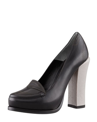 Austen Embossed-Heel Oxford Pump, Black