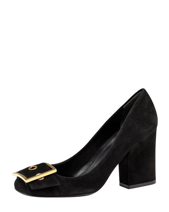 Block Heel Buckle Pump, Black