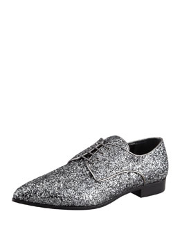 Miu Miu Glittered Pointed-Toe Derby Shoe