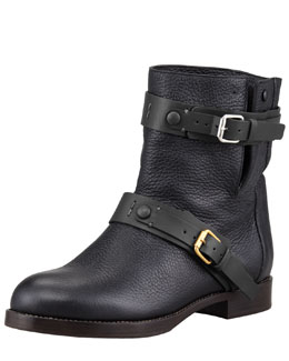 Chloe Double-Buckle Moto Boot, Black