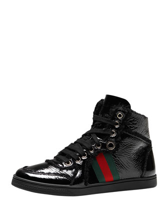 Fur-Trim High-Top Sneaker, Black