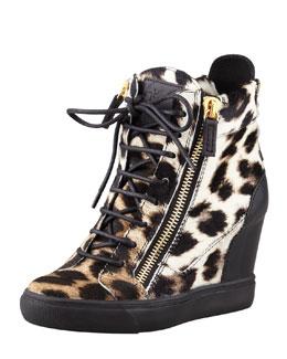 Giuseppe Zanotti Leopard-Print Calf Hair Wedge Sneaker