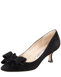 Lisanewbo Suede Low-Heel Bow Pump, Black