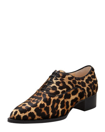 Zazou Pointed-Toe Leopard-Print Calf Hair Derby Flat