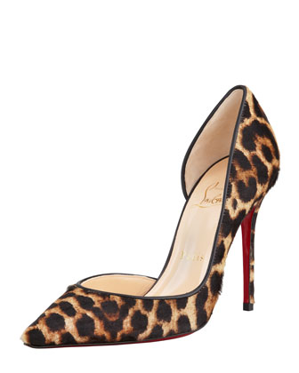 Iriza Leopard-Print Calf Hair Red Sole Pump