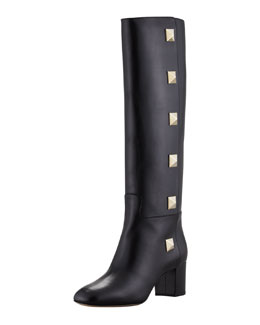 Valentino Studded Leather Knee Boot, Nero