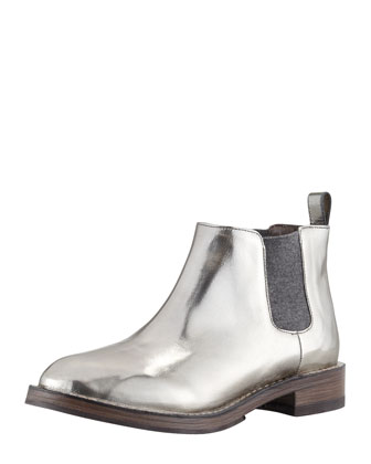 Pull-On Metallic Ankle Boot