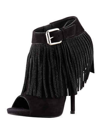 Open-Toe Crystal Suede Fringe Bootie, Black