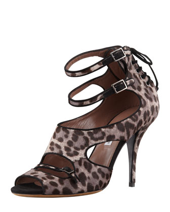 Bailey Double-Wrap Leopard-Print Calf Hair Sandal