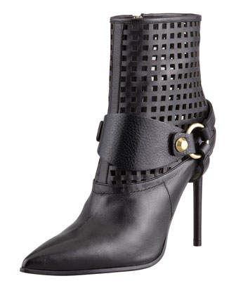 Harness Leather Ankle Boot, Black