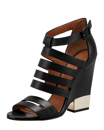 Leather Cage Wedge Bootie, Black