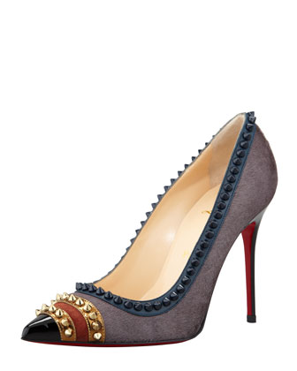 Malabar Hill Studded Mixed-Media Red Sole Pump, Acier