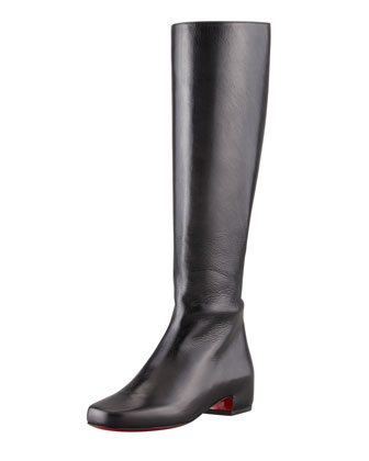 Tounoir Flat Red Sole Knee Boot, Black