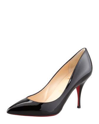 Piou Piou Patent Point-Toe Red Sole Pump, Black