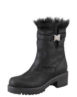 Prada Linea Rossa Shearling-Lined Motorcycle Boot