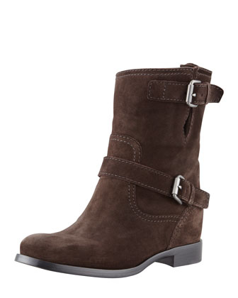 Suede Short Buckled Moto Boot