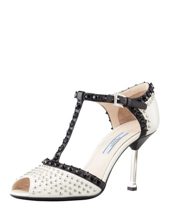 Studded T-Strap Sandal, White/Black