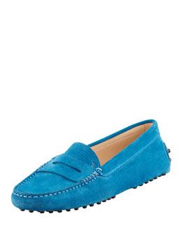 Tod's Suede Gommini Mocassino, Teal