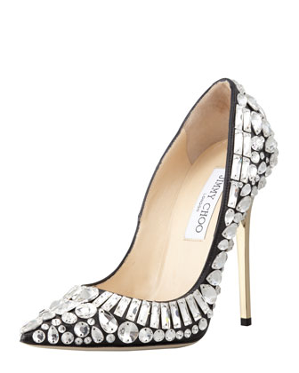 Tia Pointy-Toe Jewel Pump
