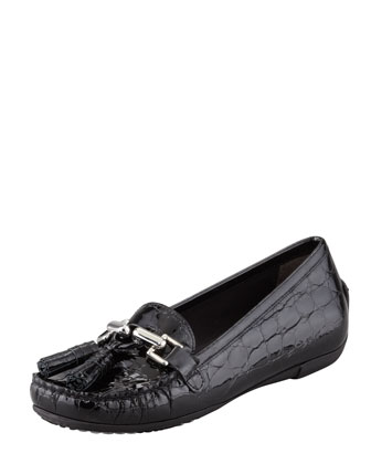 Rascal Patent Crocodile-Embossed Tassel Loafer, Black