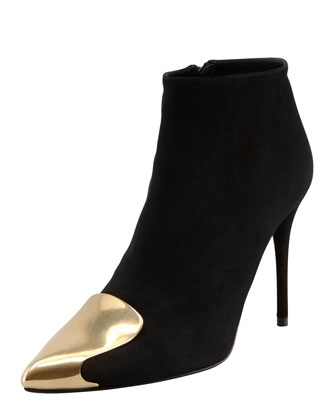 Metal Tipped-Toe Suede Bootie, Black